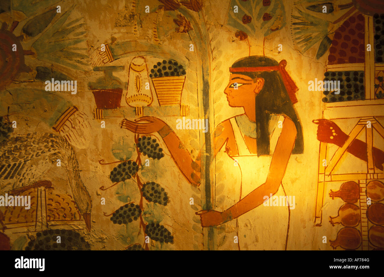 Egypt, Luxor, West Bank, Valley of the Nobles, Painting on wall in ...