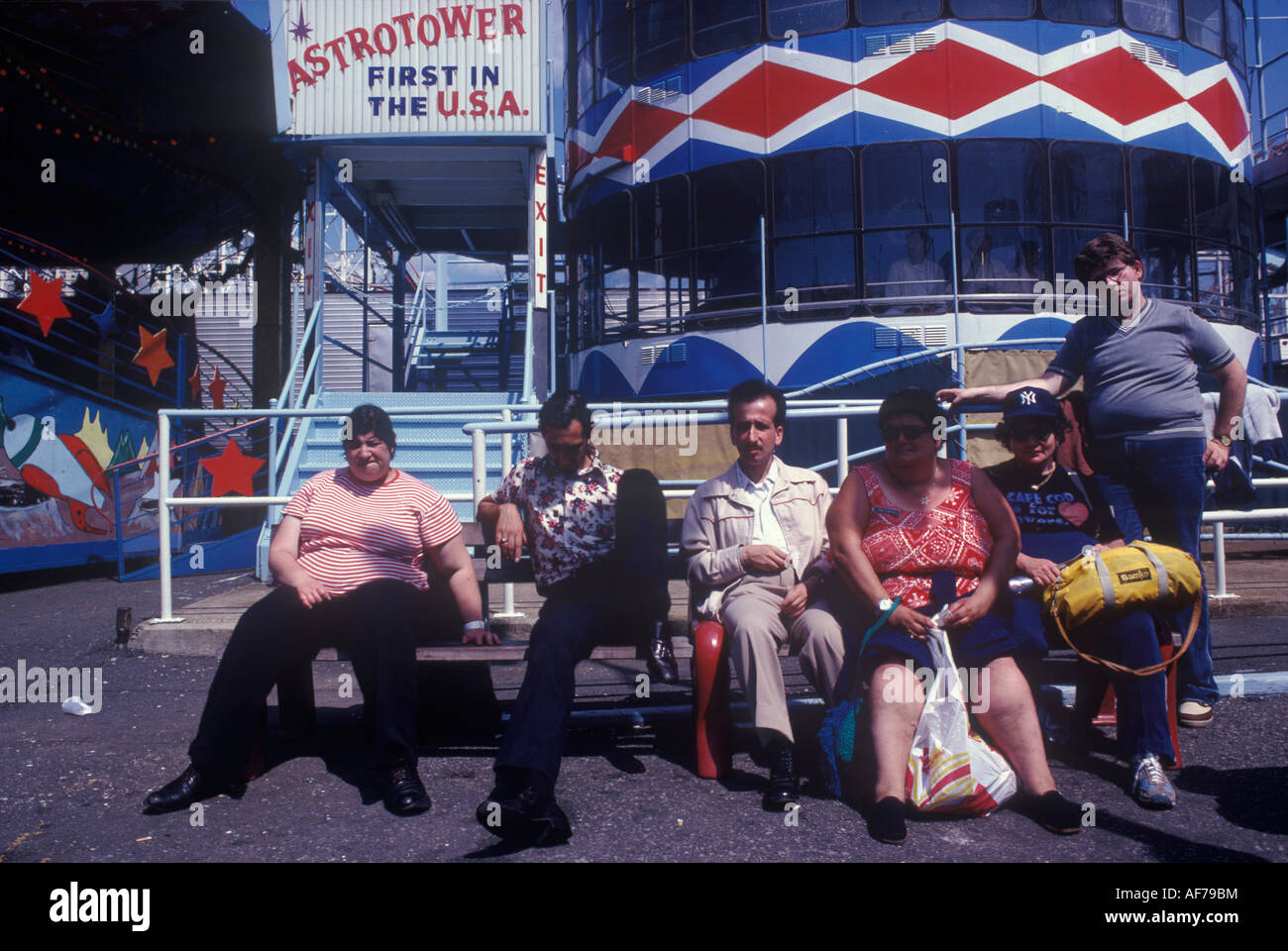 Coney Island New Jersey USA 1981 Over weight American family HOMER SYKES - Stock Image