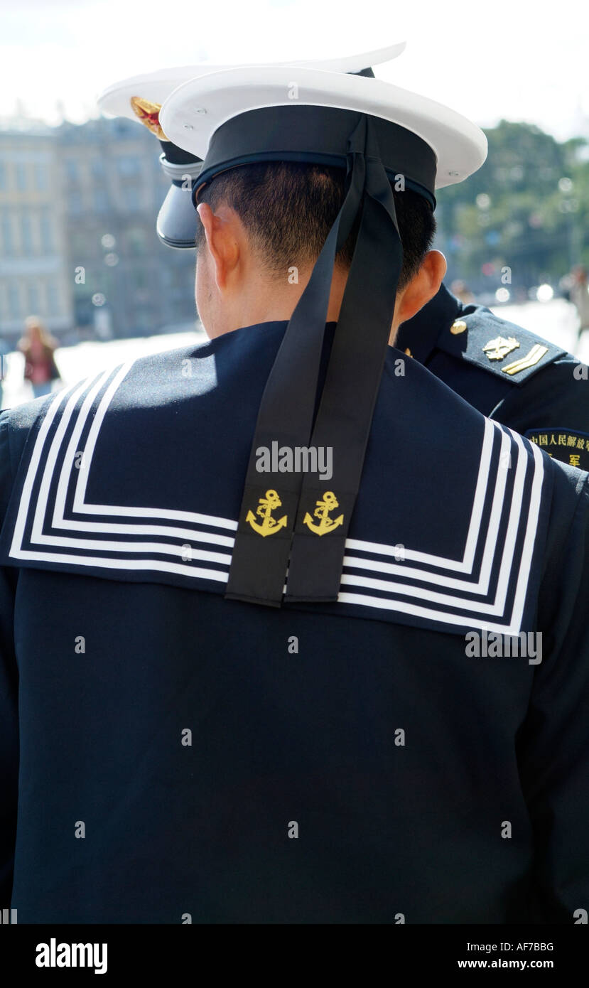 0467e9edf Chinese Navy rating hat and ribbons with anchor decorations.Sailor - Stock  Image