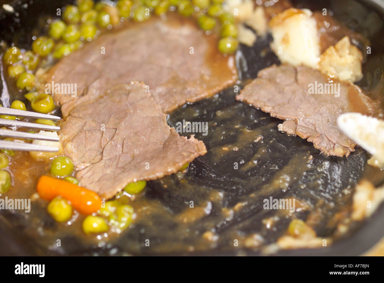 Roast beef TV dinner - Stock Image