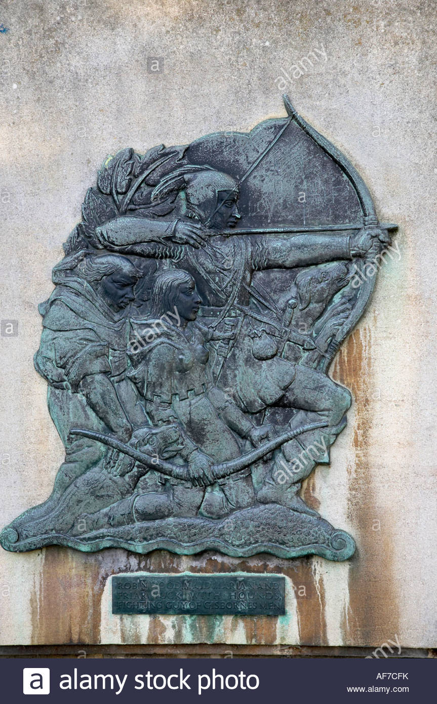 Plaque of the Robin Hood story: With Friar Tuck & Maid Marian, hunting with hounds. By the statue and Nottingham - Stock Image