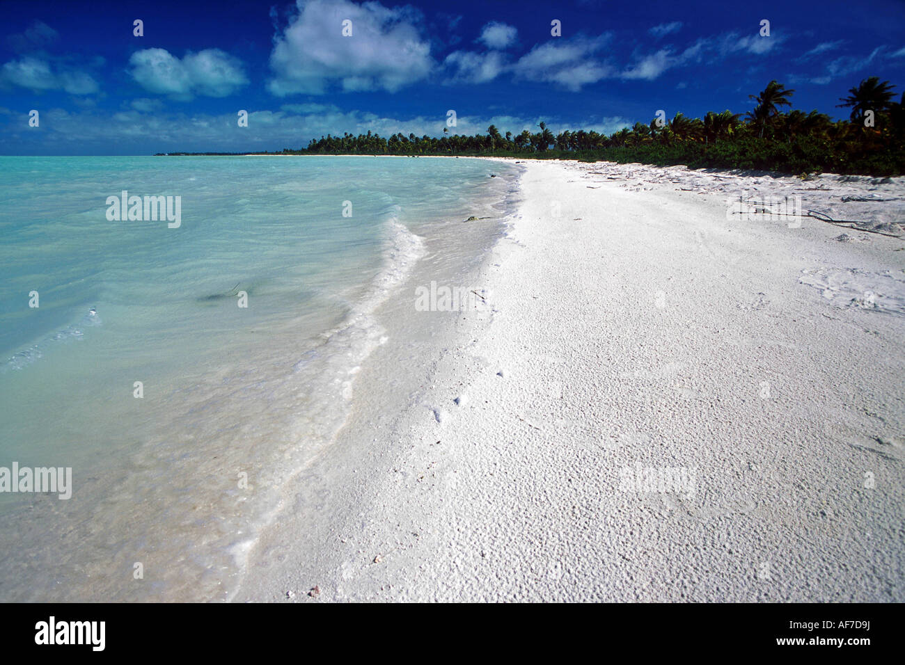 deserted pristine white sand beach on Christmas Island, Kiribati - Stock Image