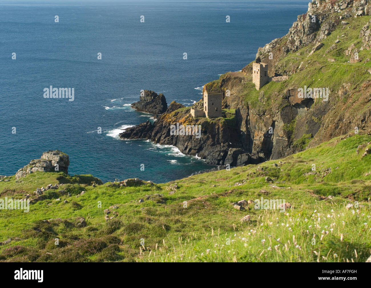 Two engine houses from tin mining days, Botallack, Cornwall - Stock Image