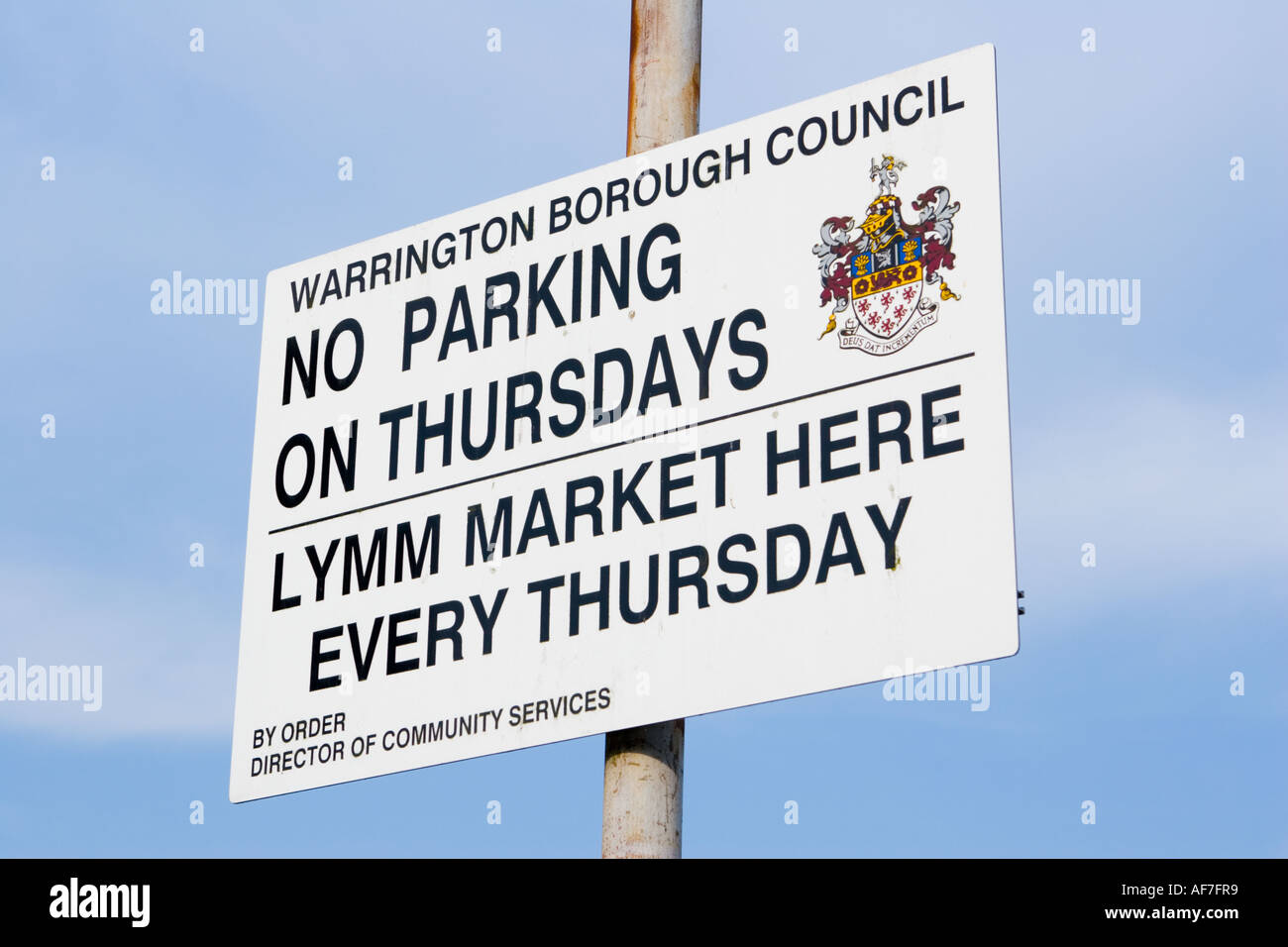Sign at Lymm Market Stock Photo