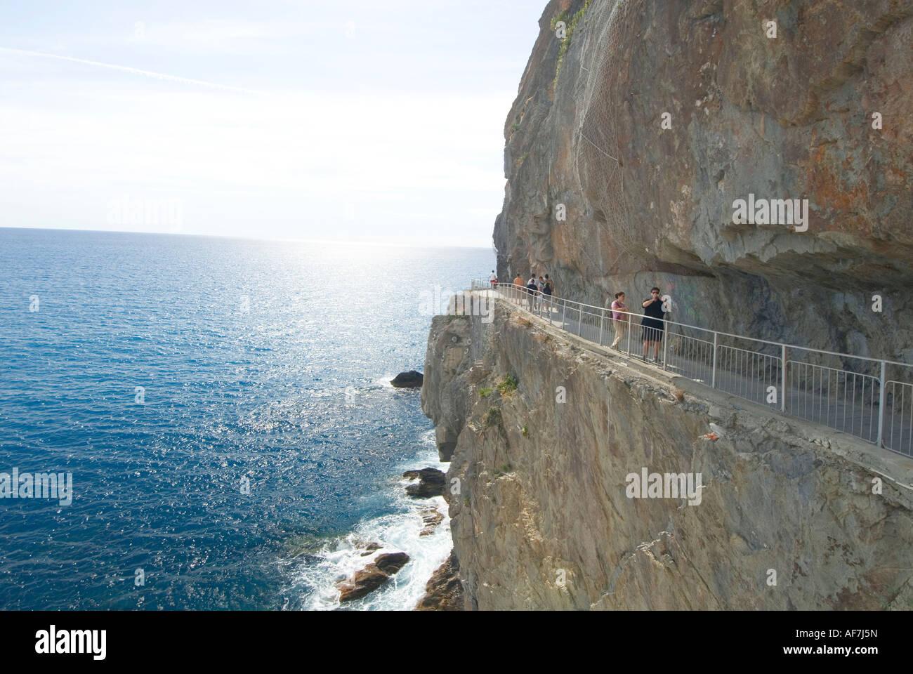 Via Dell Amore trail Riomaggiore Cinque Terre Italy - Stock Image