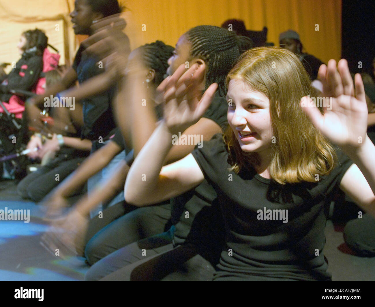Youth theatre group in rehearsal, London, UK. - Stock Image