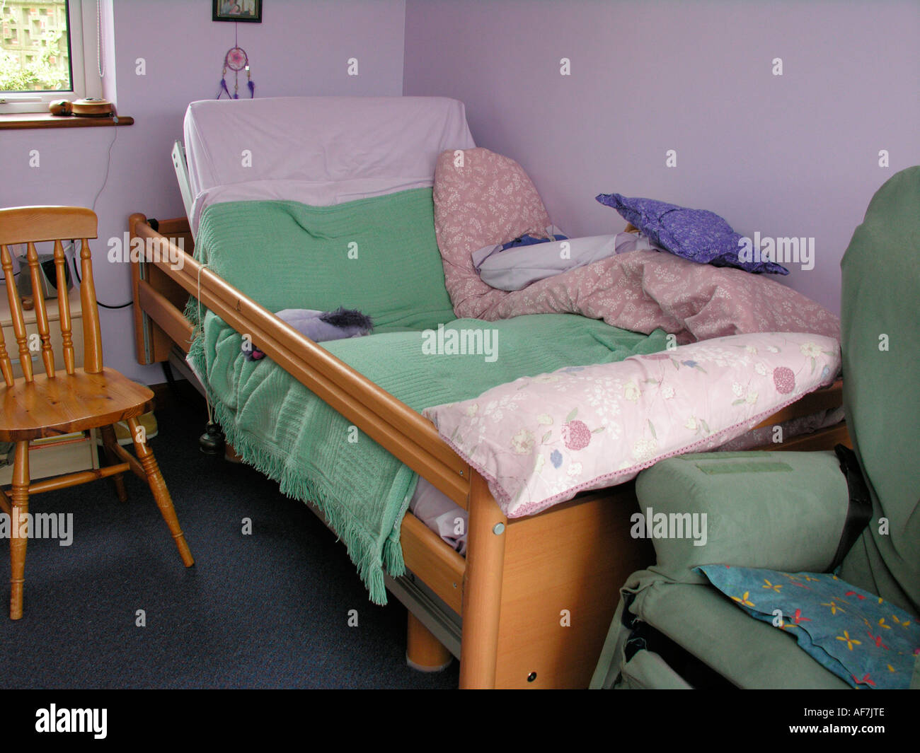 Disabled Person S Adjustable Bed With Bell Attached For Summoning Stock Photo 7918861 Alamy