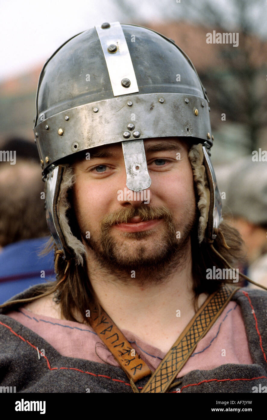 A re-enactment of a Viking and Anglo-Saxon battle at York, England, UK. - Stock Image