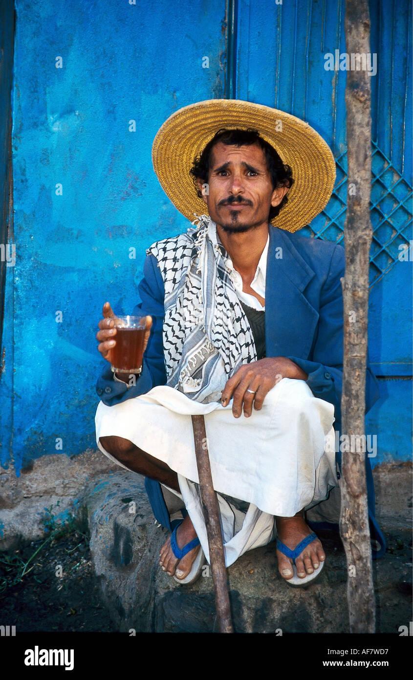 Geography Travel Yemen People Man Drink Tea Middle East Yemenite Full Figure Straw Hat Bath Slipper