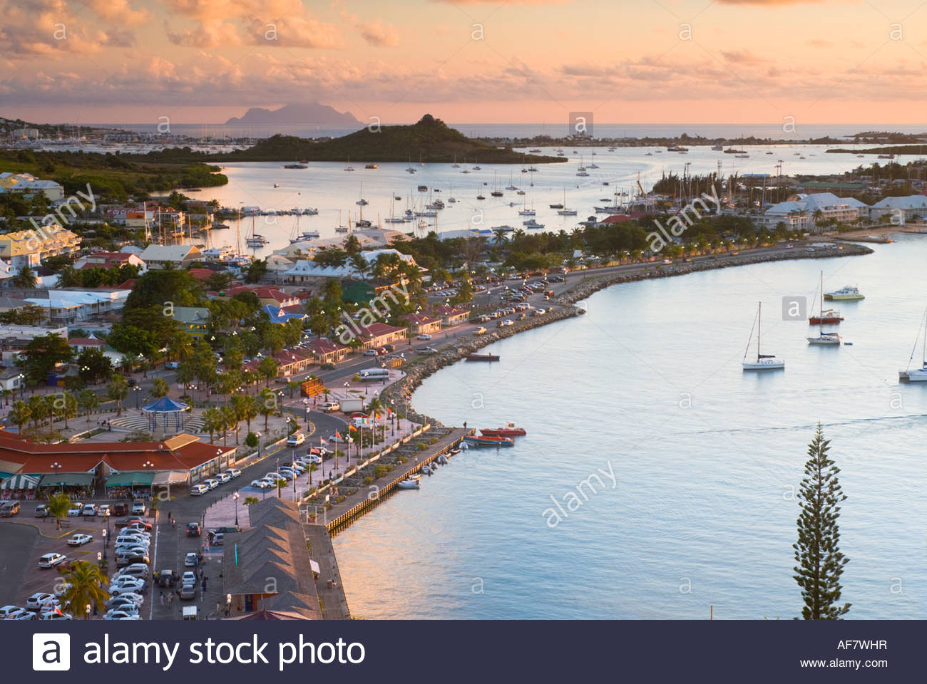 Elevated view of Marigot, from Fort St Louis, Saint Martin, French Antilles, Leeward Islands, Caribbean - Stock Image