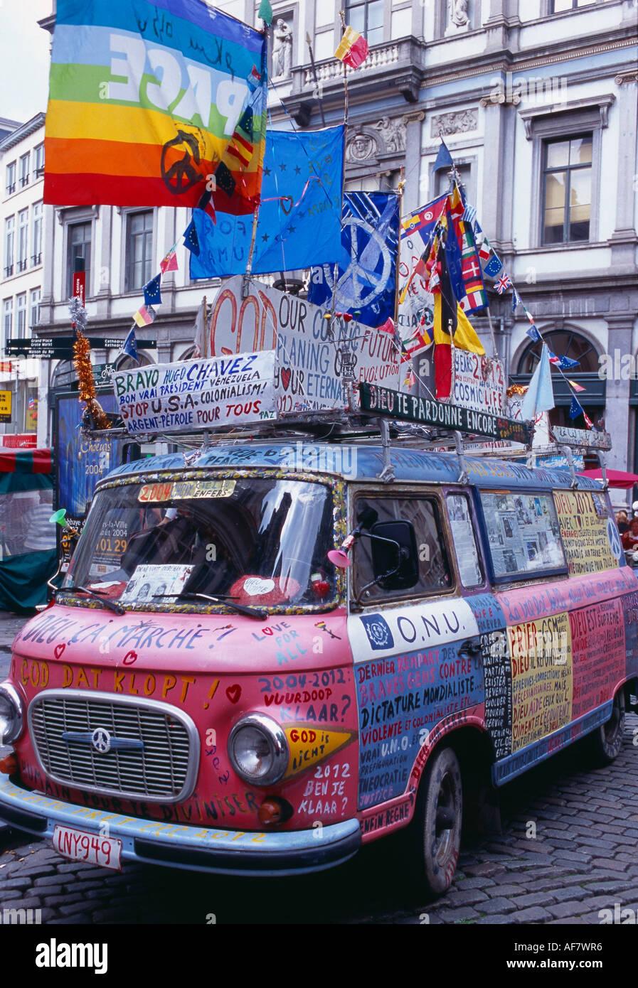 protesters campervan alternative travellers VW van nr Grand Place Brussels Belgium - Stock Image
