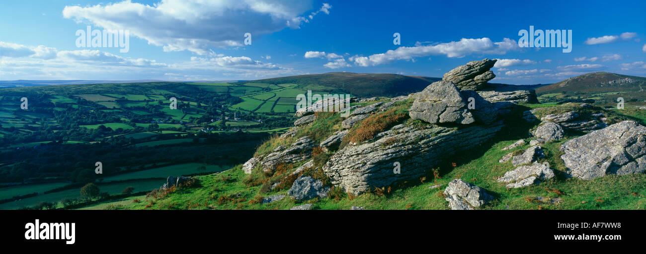 granite tors on the moor above Widdecombe on the Moor Dartmoor Devon England UK - Stock Image