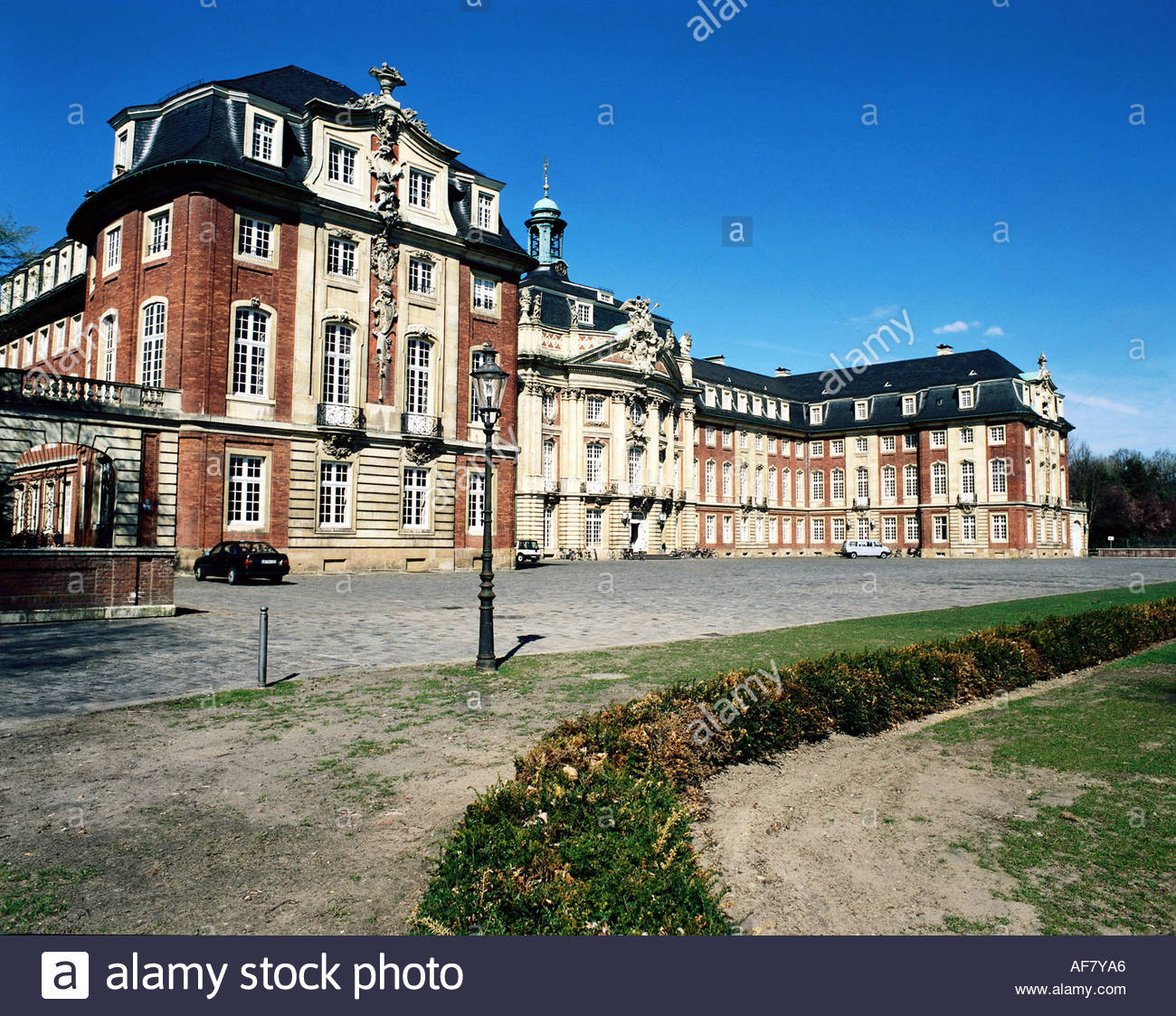 geography / travel, Germany, North Rhine-Westphalia, Munster, buildings, University (former castle), built 1767 - 1787 by Johann Conrad Schlaun, exterior view, Additional-Rights-Clearance-Info-Not-Available - Stock Image