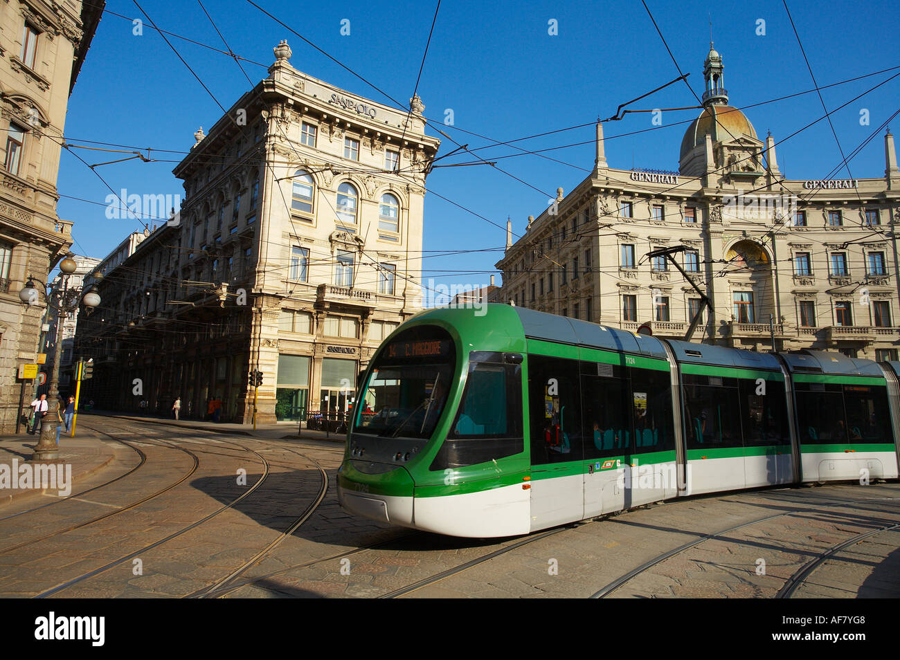 a tram Piazza Cordusio Milan Lombardy Italy NR Stock Photo