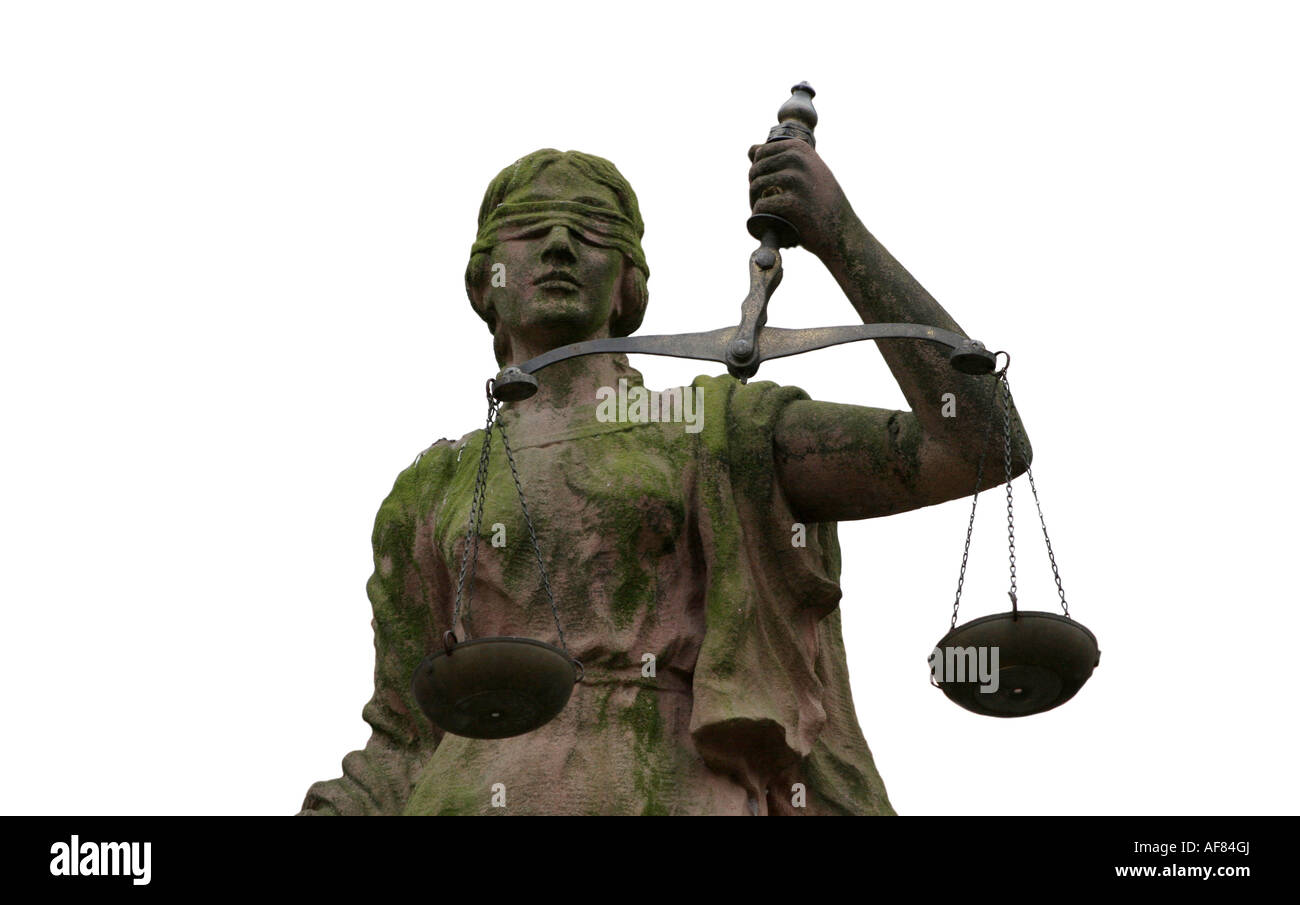 Lady Justice - Justitia - is a personification of the moral force that underlies the legal system. - Stock Image