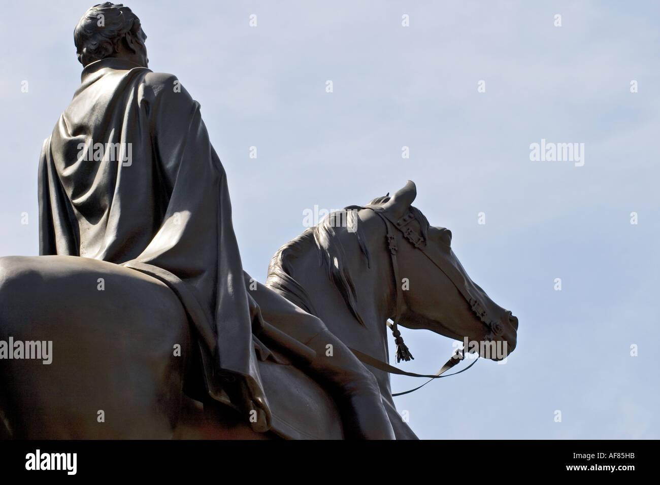 Duke of Wellington statue outside of the Bank of England - Stock Image