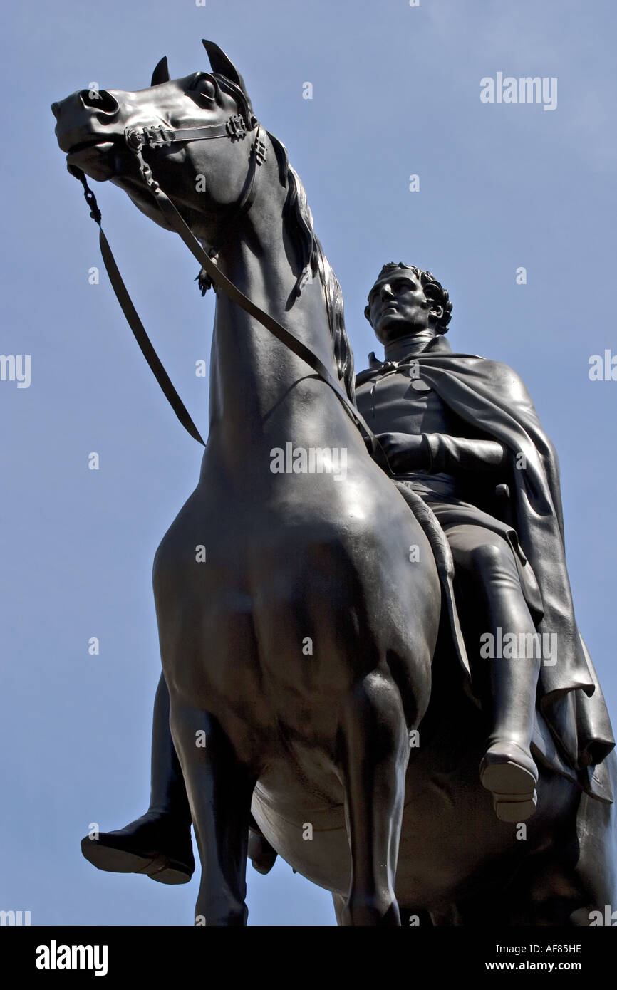 Duke of Wellington statue outside of the Bank of England - Stock Image