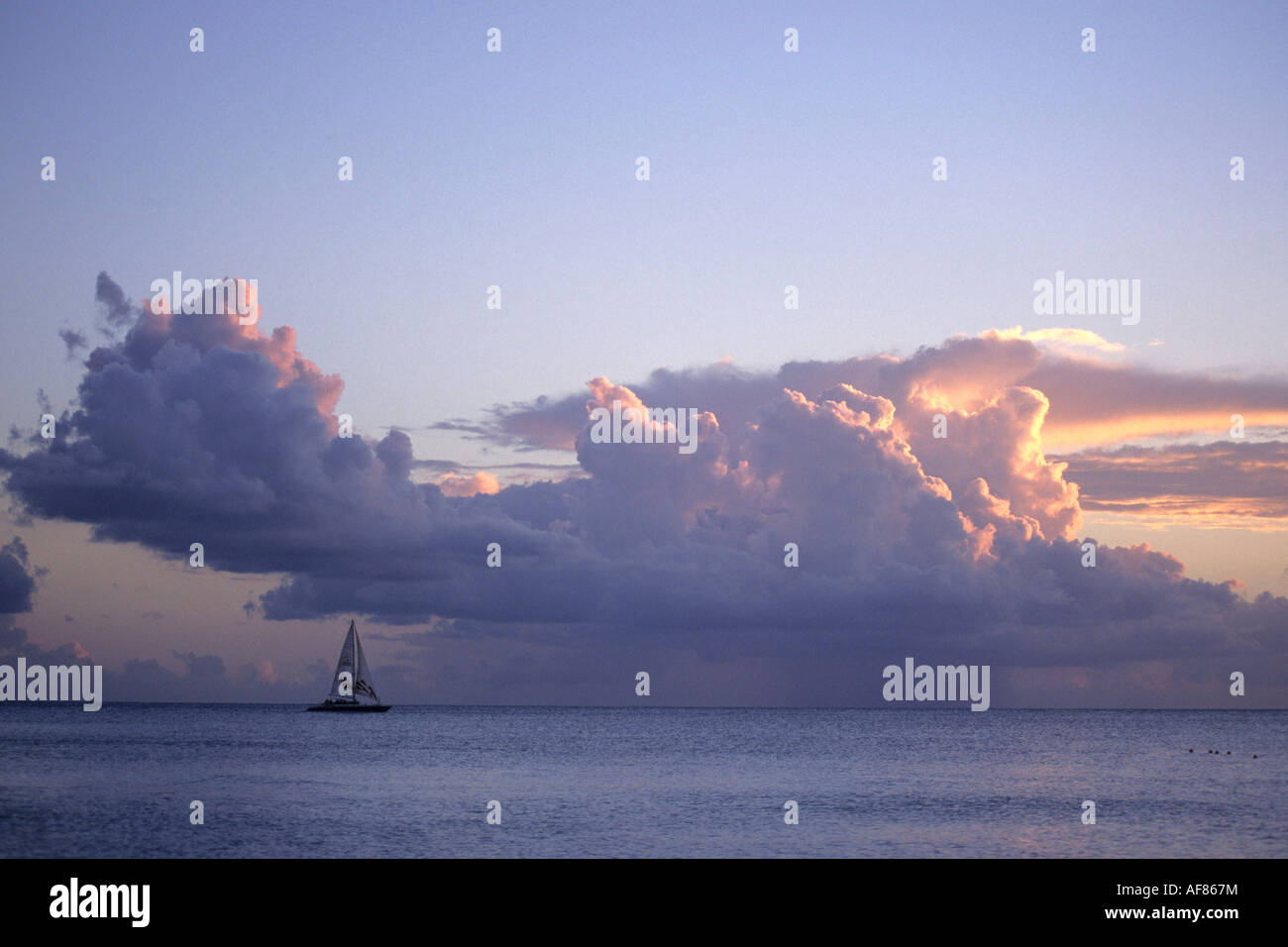 Catamaran at Sunset, View from Sandy Lane, St. James, Barbados, Carribean - Stock Image