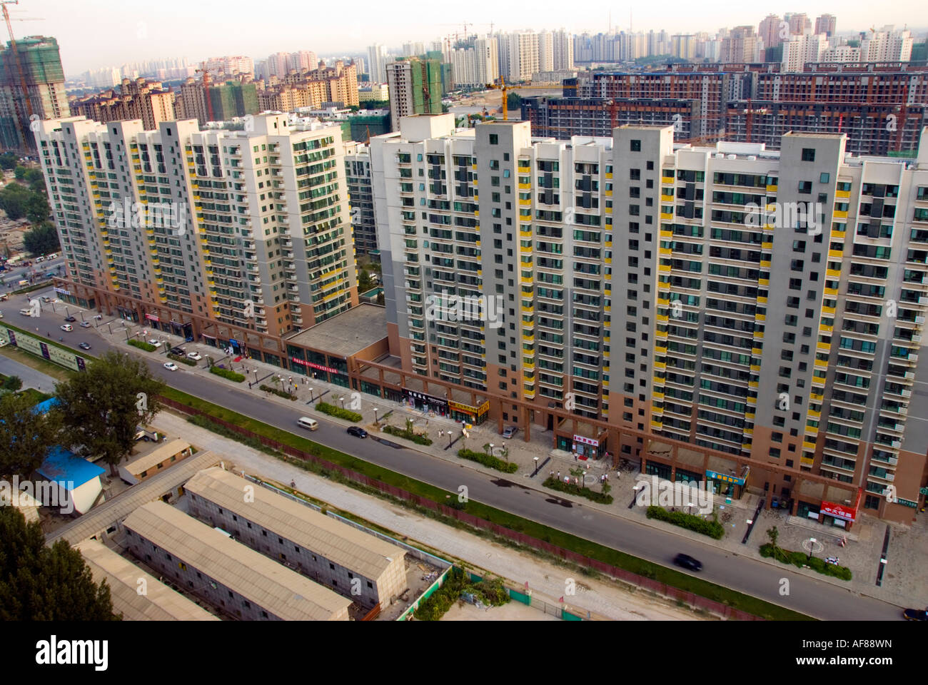"""Beijing CHINA, New Architecture Apartment Buildings """"Under COnstruction"""" of Cityscape, asia china chinese asian road, reinforced concrete structure, n Stock Photo"""