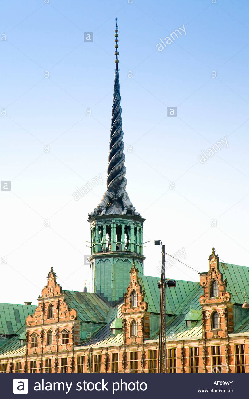 The seventeenth century Stock Exchange on Boersengade and Frederiksholm canal, Copenhagen, Denmark - Stock Image