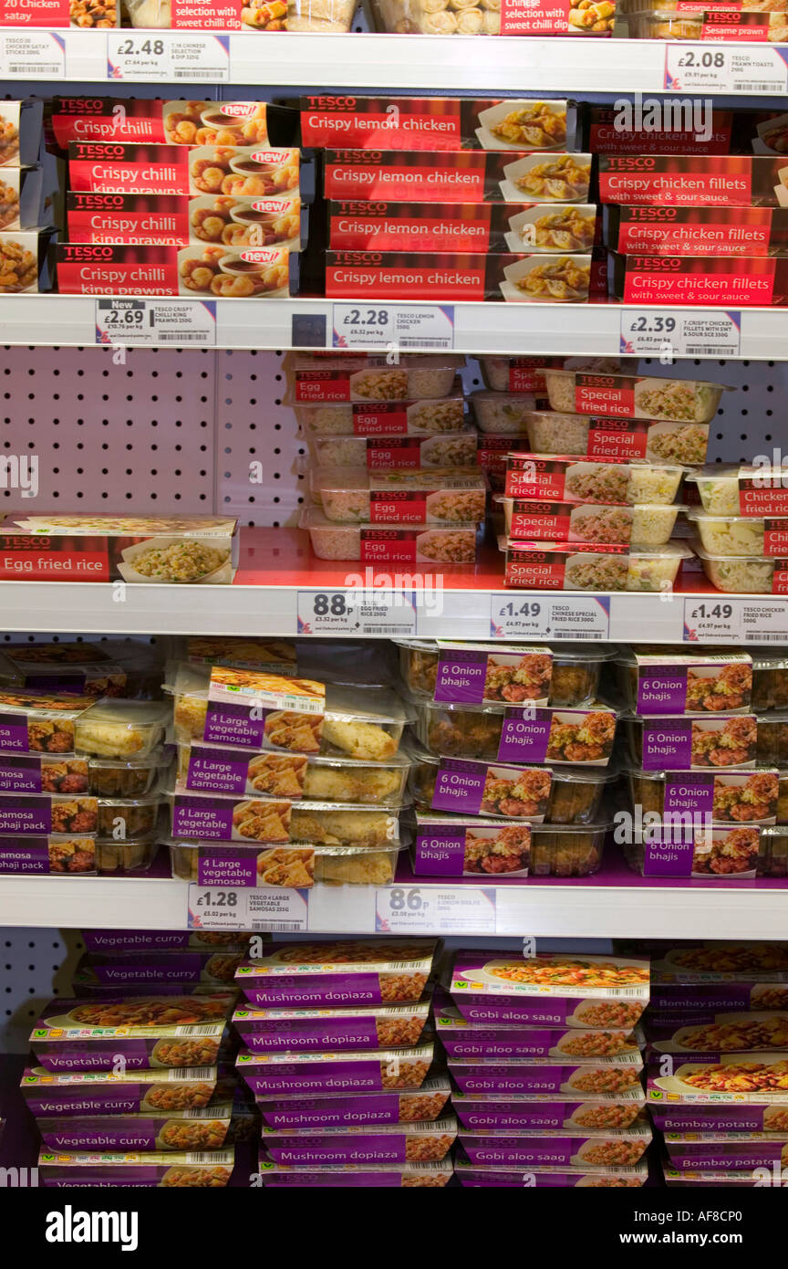 ready meals for sale in a Tesco's supermarket, Carlisle, Cumbria, UK - Stock Image