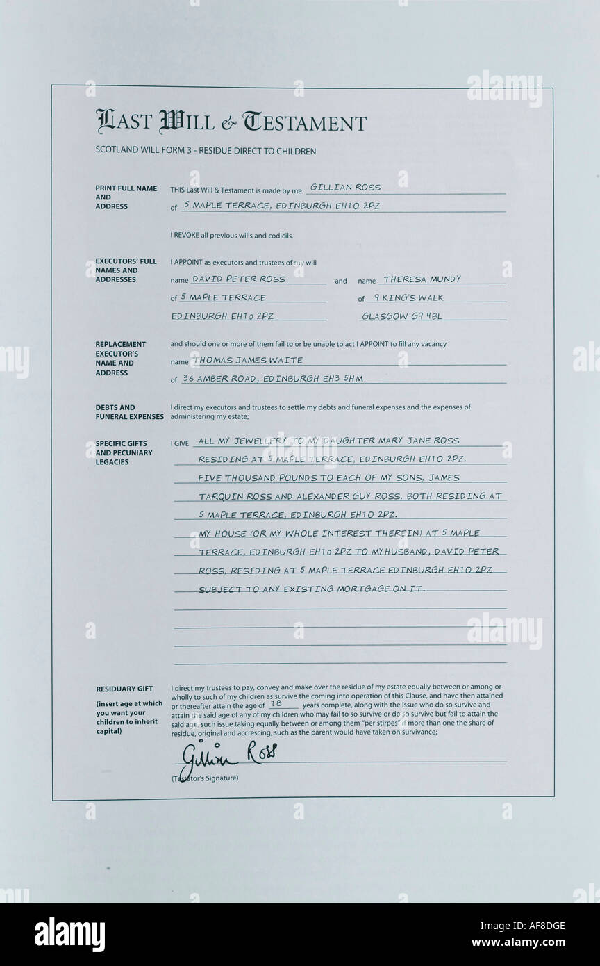 a last will and testament form - Stock Image