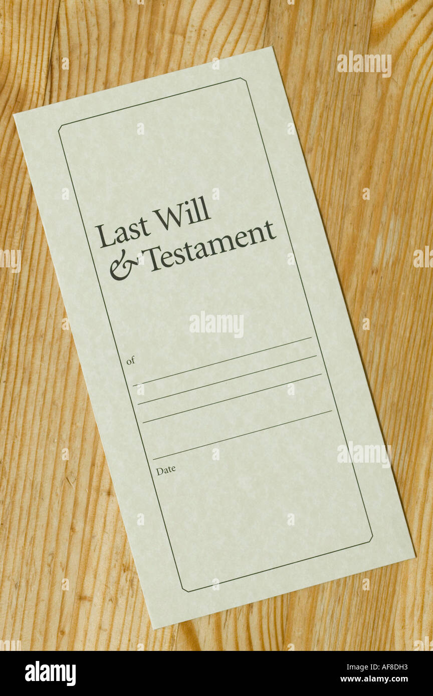 Last Will And Testement Form | A Last Will And Testament Form Stock Photo 7923154 Alamy