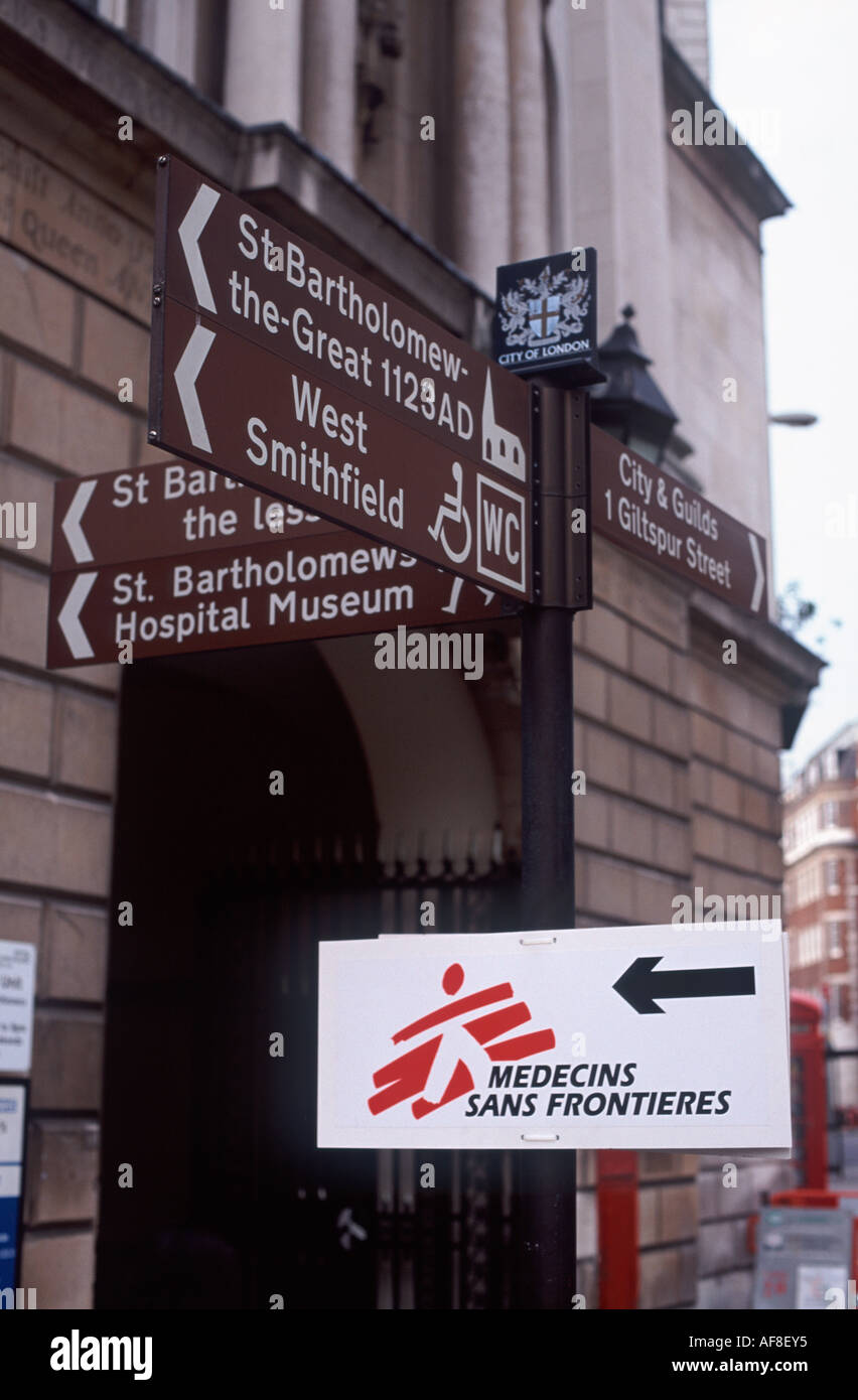 Sign indicating Medecins Sans Frontieres (Doctors Without Borders) conference at St Bartholomews Hospital, City of London - Stock Image