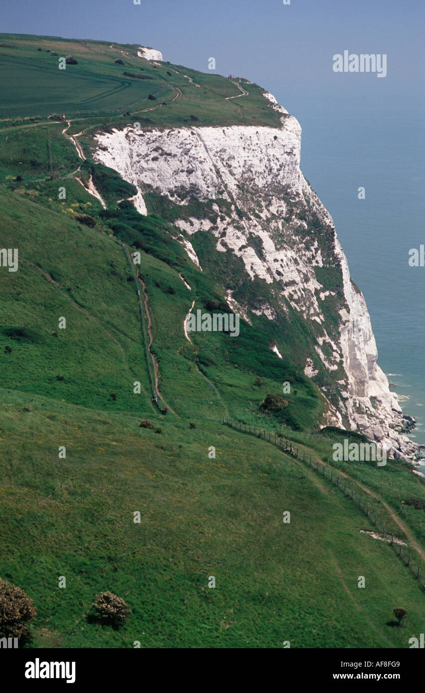 The White Cliffs of Dover dropping to the English Channel, Dover, Kent England Stock Photo