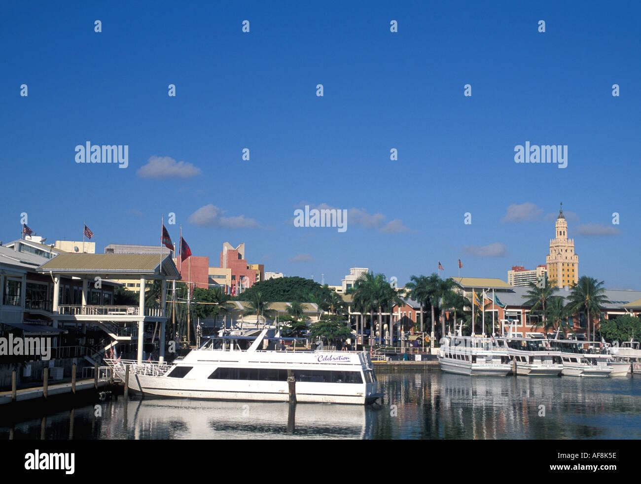 Miami Beach FL Florida Bayside South Beach Boats at anchor in marina - Stock Image