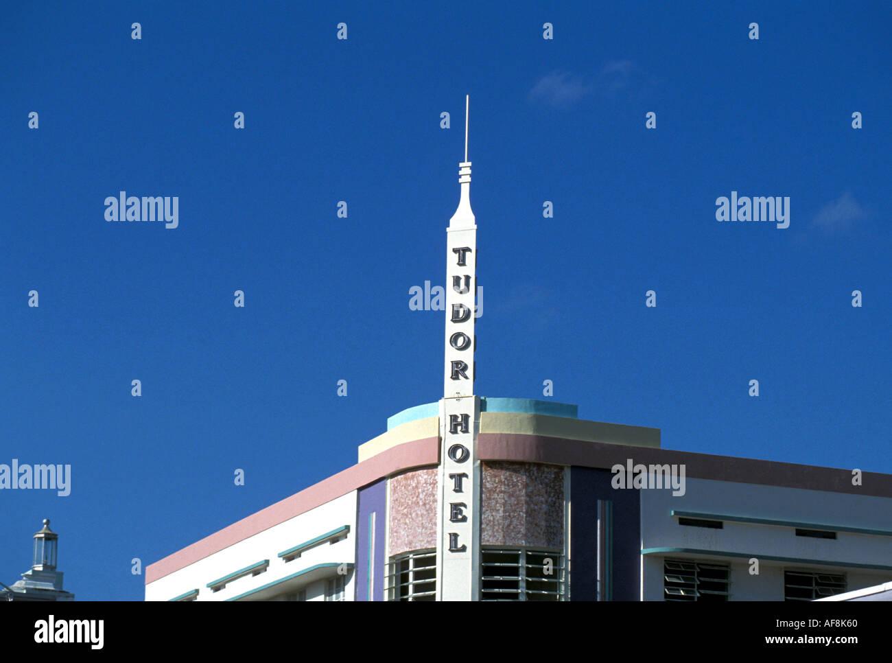 Miami South Beach Art Deco Tudor Hotel Sign Florida FL - Stock Image
