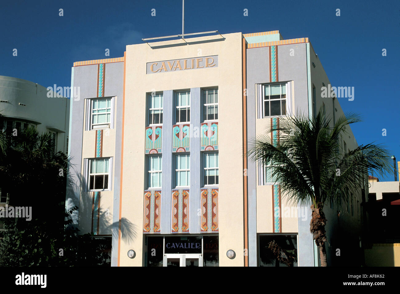 Miami Florida FL South Beach Art Deco Architecture Cavalier Hotel Front - Stock Image