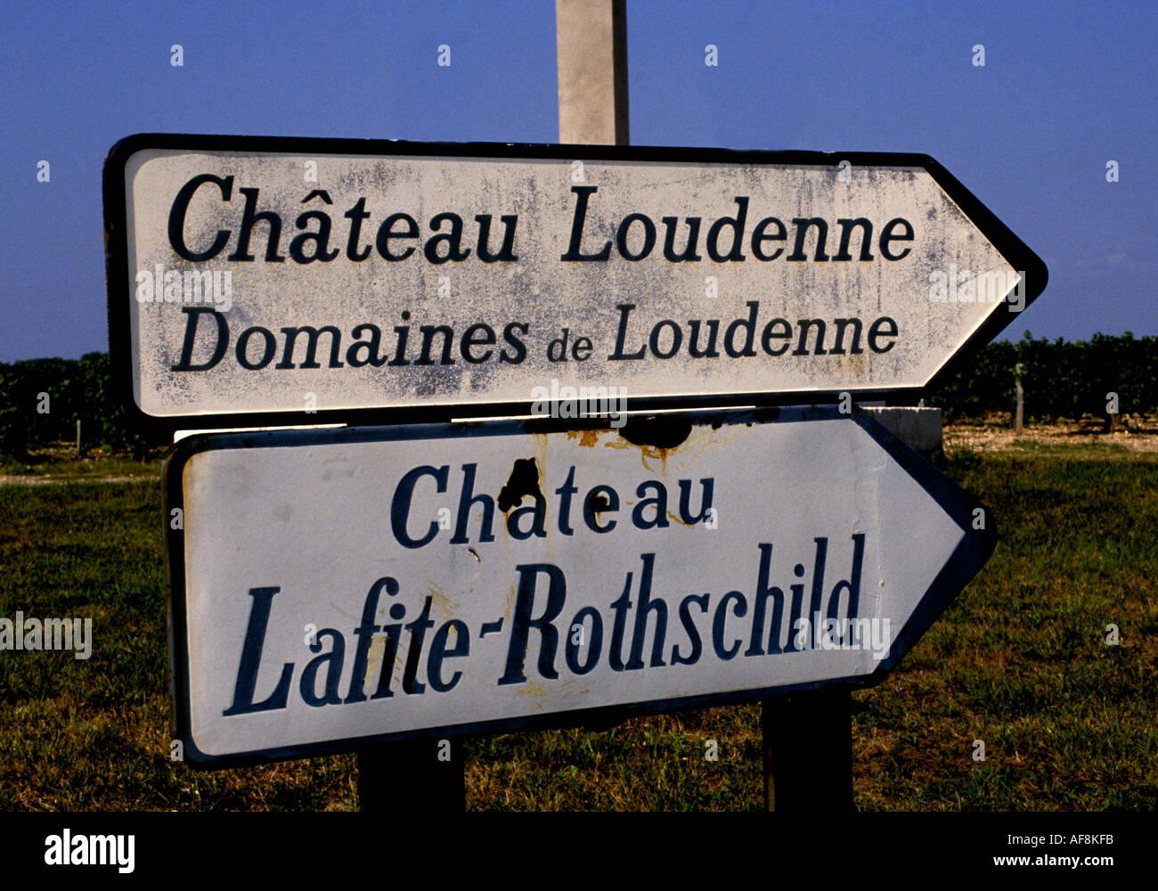 France wine Bordeaux Medoc Lafite Rothschild  sign board billboard message communication advertising advertisement - Stock Image