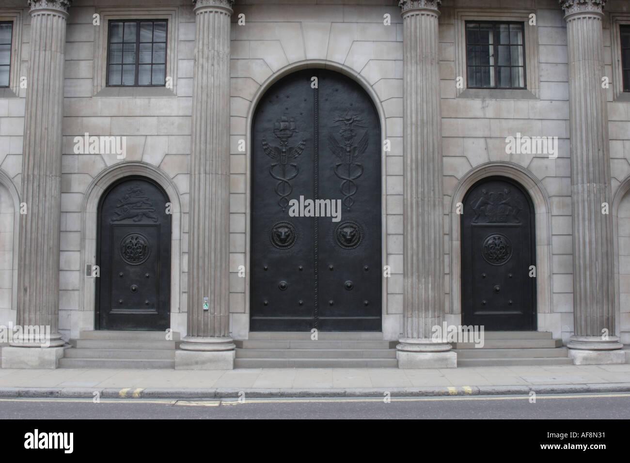 Doors to the Bank of England Threadneedle Street London Stock Photo