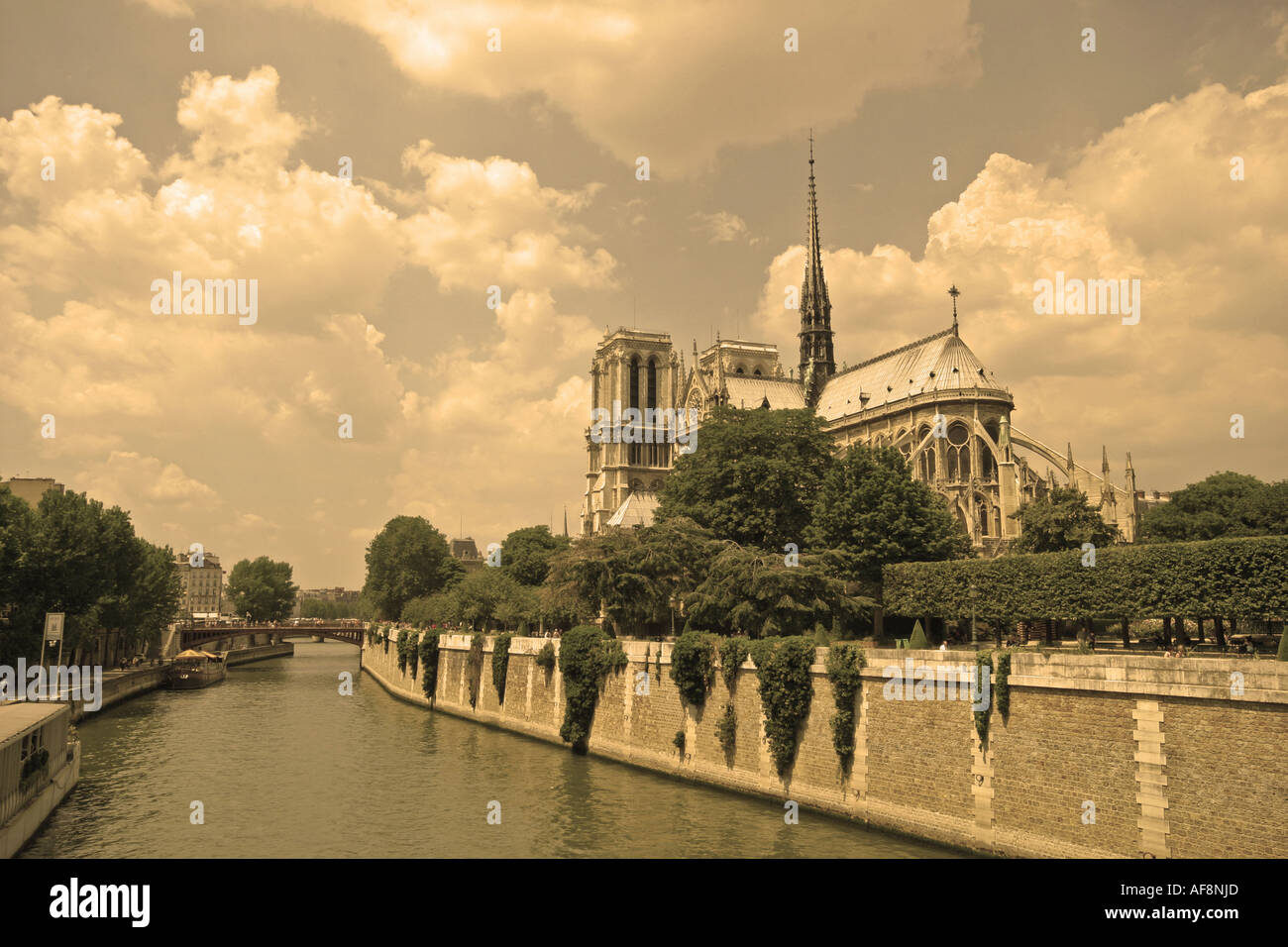 A Stock Photograph Of Notre Dame In Paris In Sepia Stock