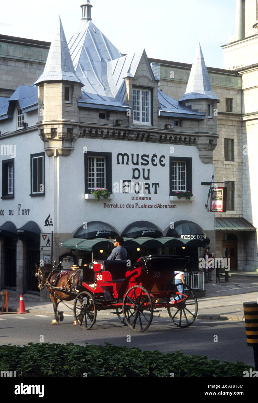 The Fiacre or horse drawn carriage is a popular way to visit the tourist attractions in Quebec City,Canada - Stock Image