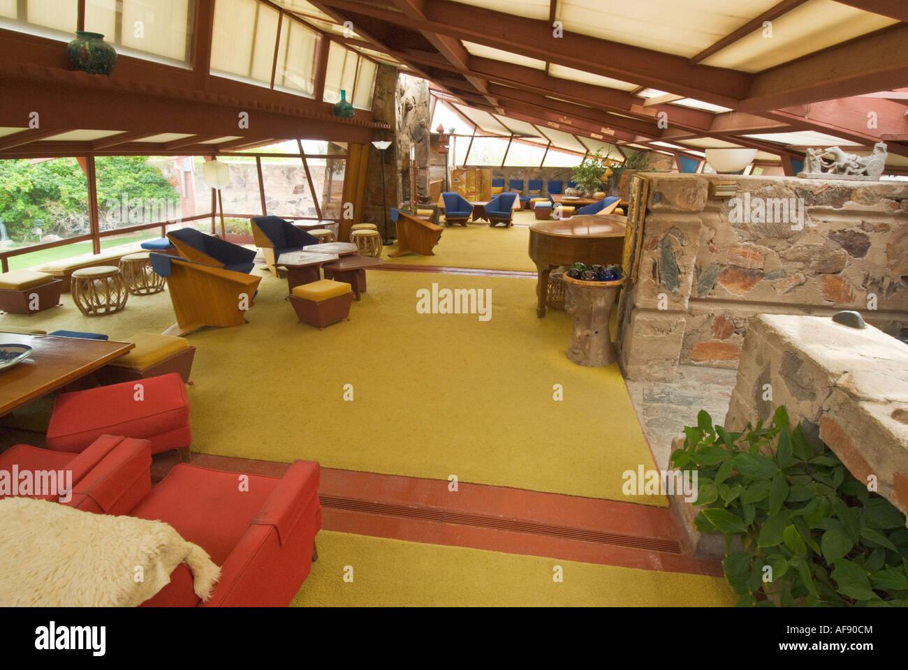 Arizona scottsdale taliesin west architect frank lloyd wright winter home and studio living room stock