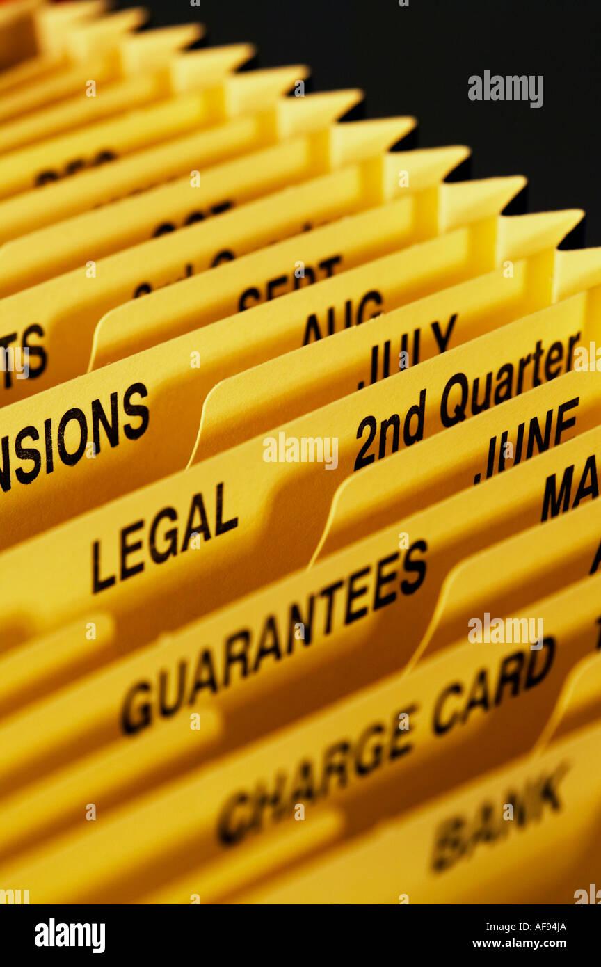 concertina file filing system pockets close up - Stock Image