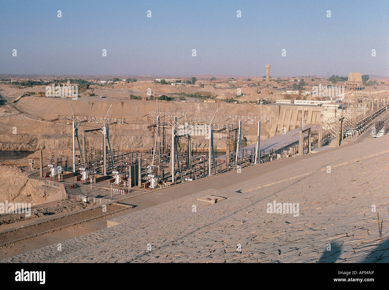 The power station power lines and transformers at the Aswan High Dam Egypt - Stock Image