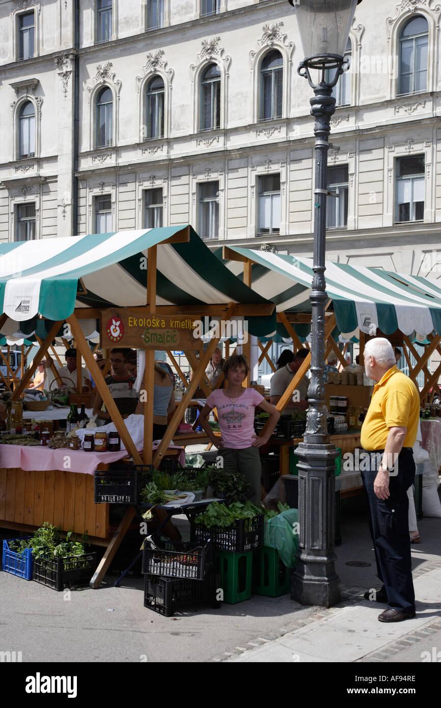 Slovenia Ljubljana Organic Food on sale at the Public Outdoor Central Market - Stock Image