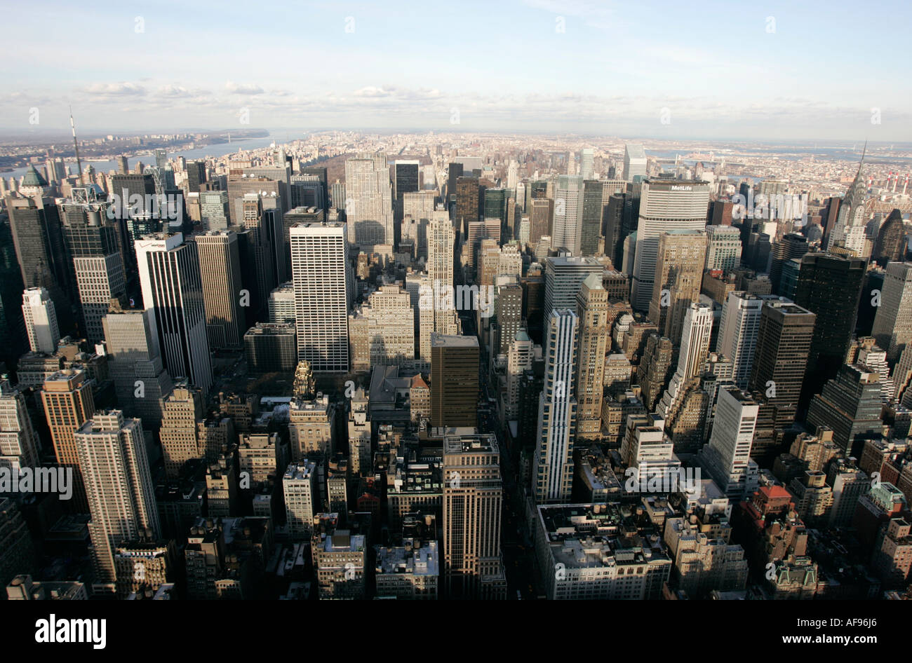 view north towards central park from observation deck 86th floor near the top of the empire state building - Stock Image