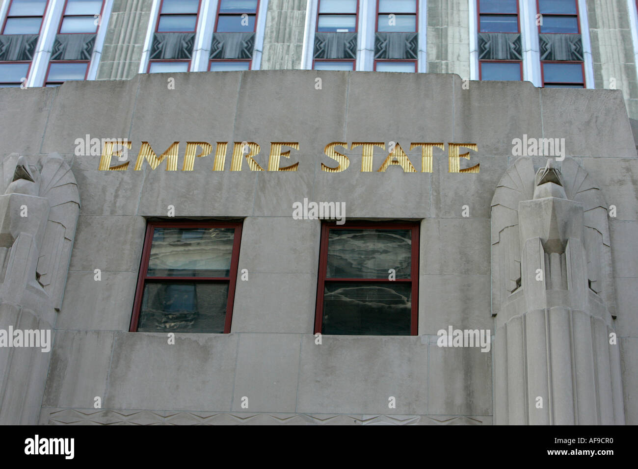 Empire state building nameplate art deco gold writing new york city new york USA - Stock Image
