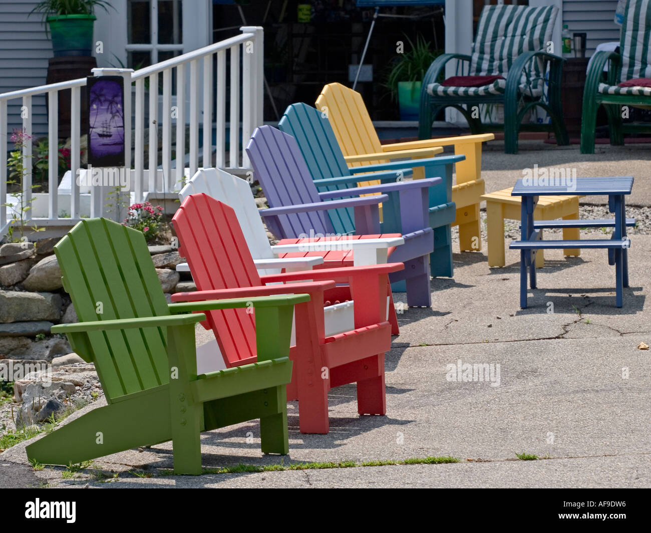 Brightly Colored Wooden Adirondack Chairs Stock Photo 7928661 Alamy