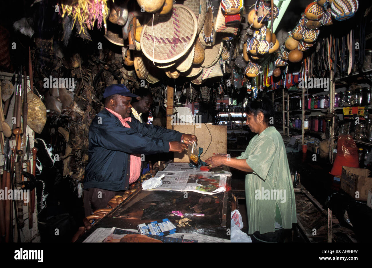 South Africa Johannesburg, Man and woman standing in Voodoo shop - Stock Image