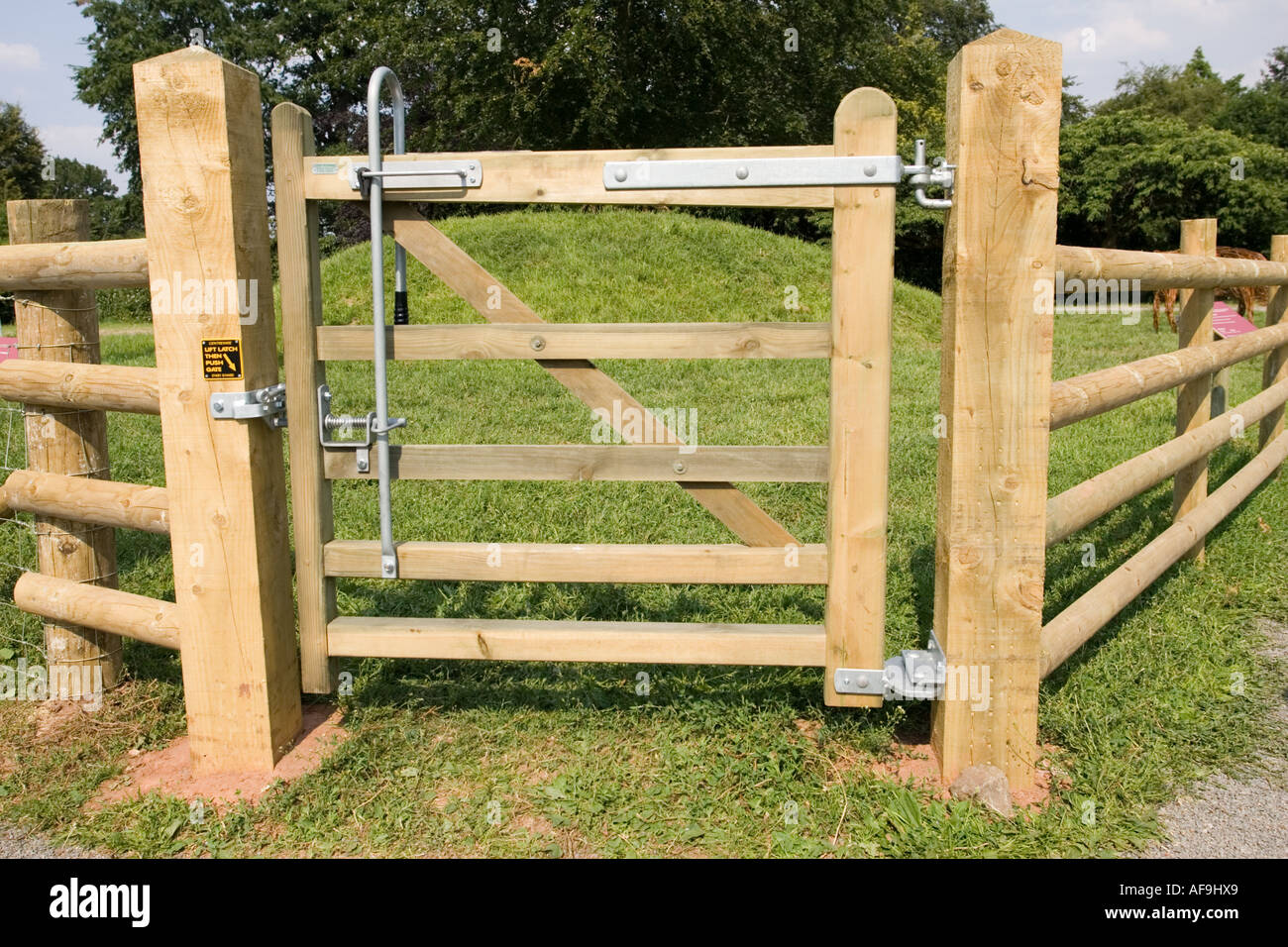 Newly erected small wooden field gate for use on rights of way Royal Agricultural Show Stoneleigh UK - Stock Image