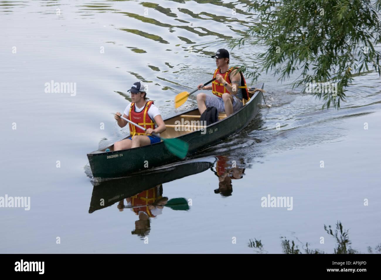 Two Men Paddling Canadian Canoe Stock Photos Amp Two Men