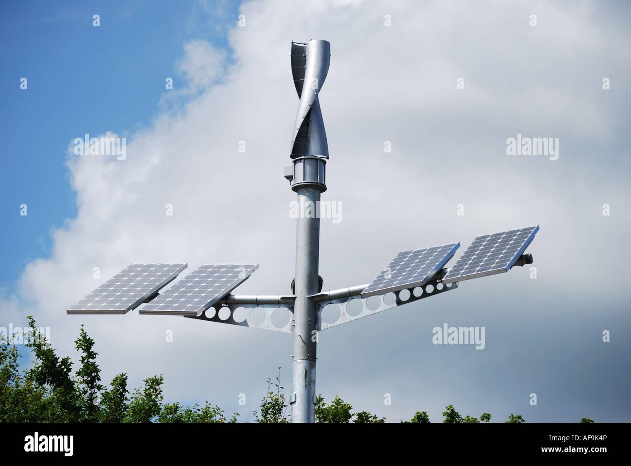 Solar Energy, combined wind and solar panels, Woking, Surrey, England, United Kingdom - Stock Image