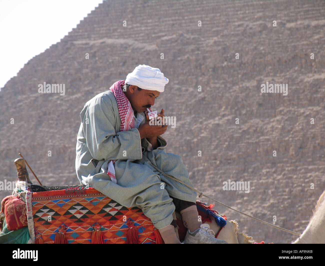 Egyptian man sitting on a camel in front of a pyramid in Giza, lighting up a cigarette, Egypt, Kairo, Giza, Gizeh, Giseh - Stock Image
