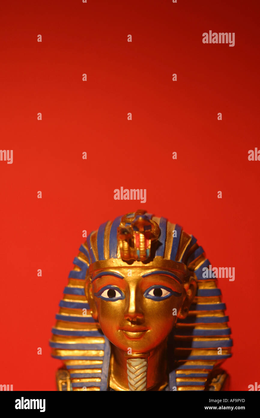 A Stock Photograph of a Model of King Tut Death mask - Stock Image
