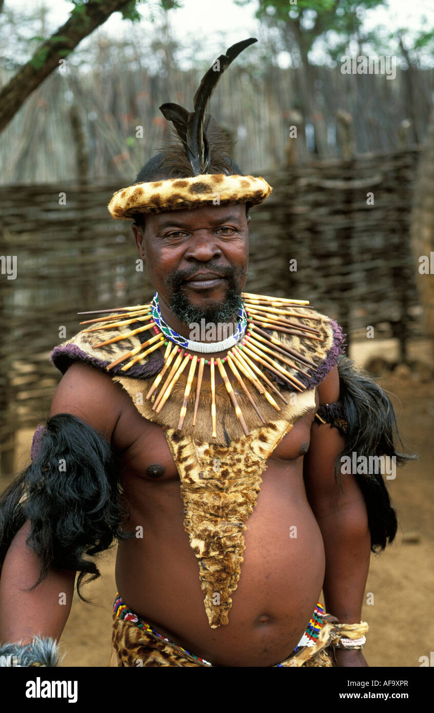 Portrait of Zulu elder in traditional dress, Shakaland Cultural village Eshowe, northern Kwazulu Natal; South Africa - Stock Image